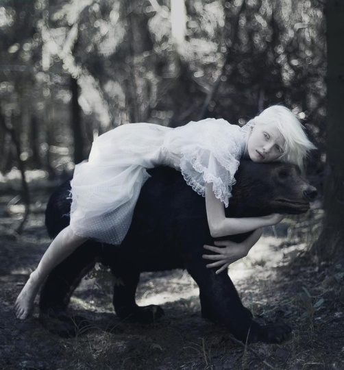 albino girl with bear