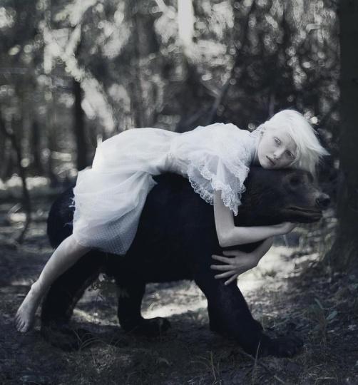 albino girl with bear