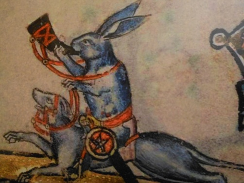 Medieval rabbit riding dog
